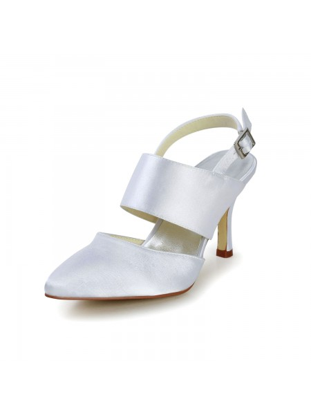Latest Women's Satin Stiletto Heel Closed Toe With Buckle White Wedding Shoes