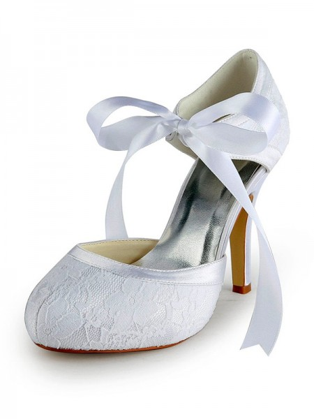 Latest Women's Satin Stiletto Heel Pumps with Lace White Wedding Shoes