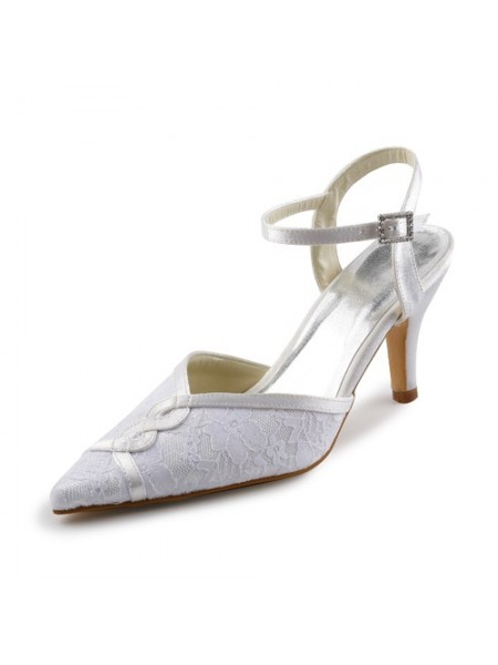Latest Women's Satin Stiletto Sandals With Stitching Lace White Wedding Shoes