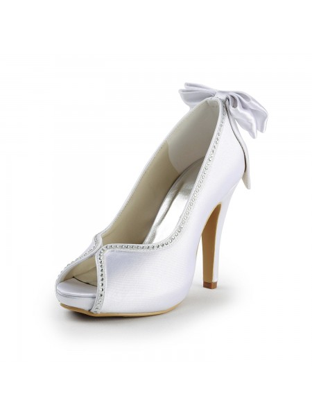 Latest Women's Satin Stiletto Heel Peep Toe With Bowknot White Wedding Shoes