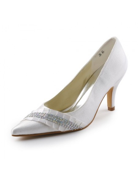 a517f13d60 Latest Women's Satin Stiletto Heel Pointed toe With Rhinestone White Wedding  Shoes ...