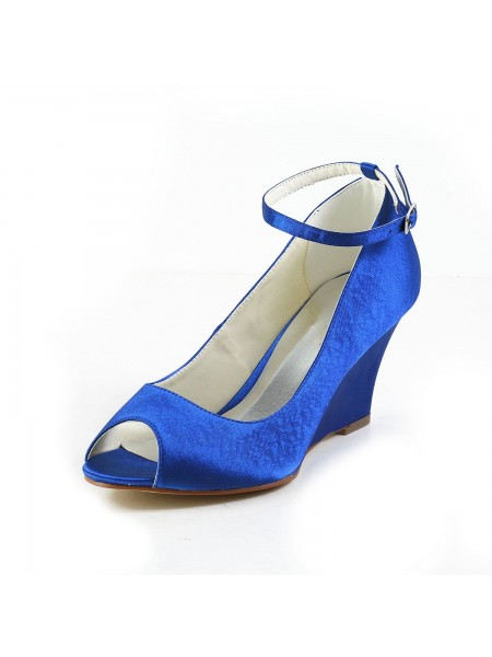 Latest Women's Satin Wedge Heel Wedges Peep Toe Wedges Shoes With Buckle