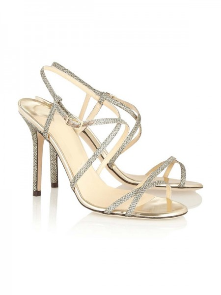 Latest Women's Peep Toe Stiletto Heel With Buckle Sandals Shoes