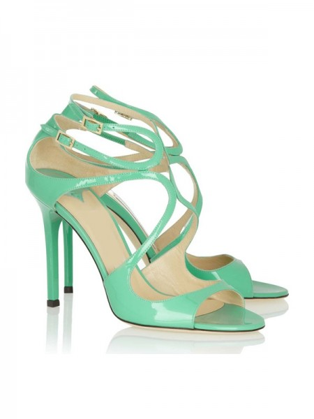Latest Women's Peep Toe Stiletto Heel Patent Leather With Buckle Sandals Shoes