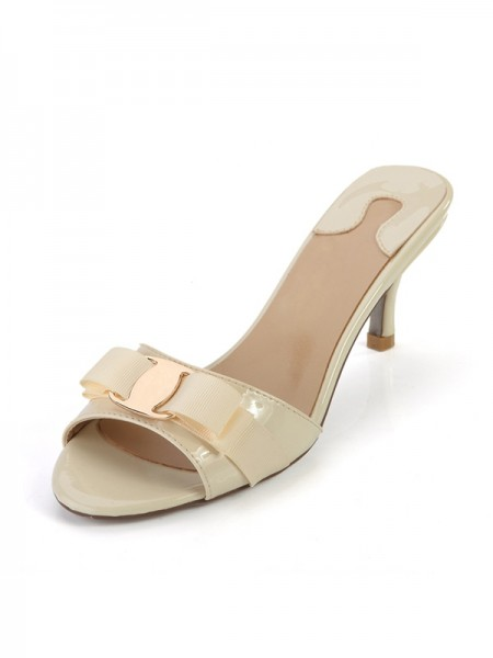 Latest Women's Peep Toe Patent Leather Cone Heel Sandals Shoes
