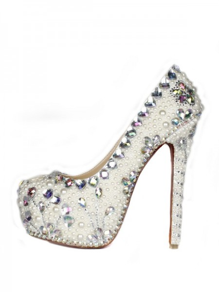 Latest Women's Patent Leather Stiletto Heel Closed Toe Platform With Pearl High Heels