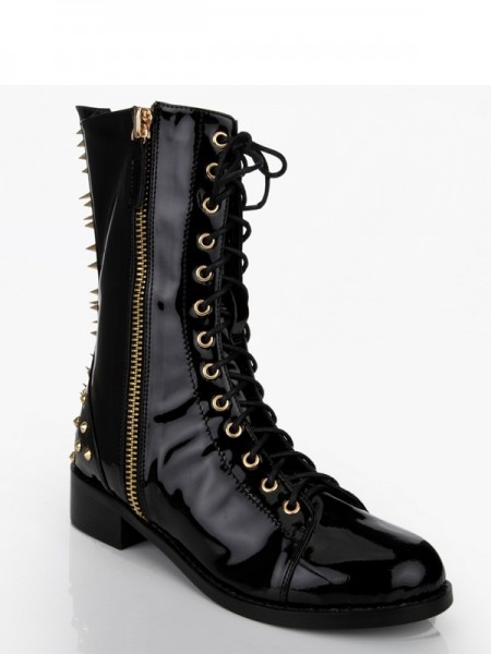 Latest Women's Patent Leather Chunky Heel With Rivet Mid-Calf Black Boots
