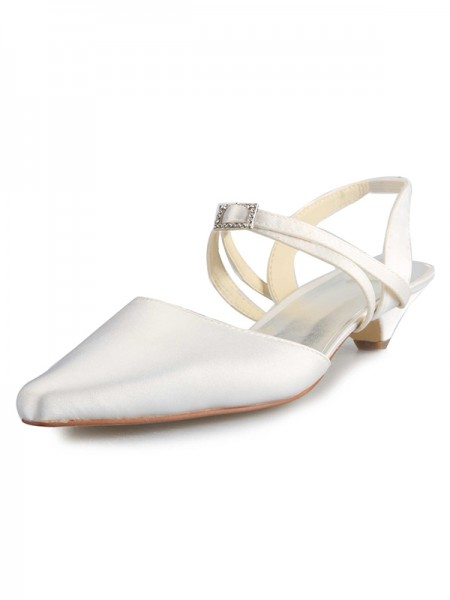 Latest Women's Satin Kitten Heel Closed Toe With Buckle White Wedding Shoes