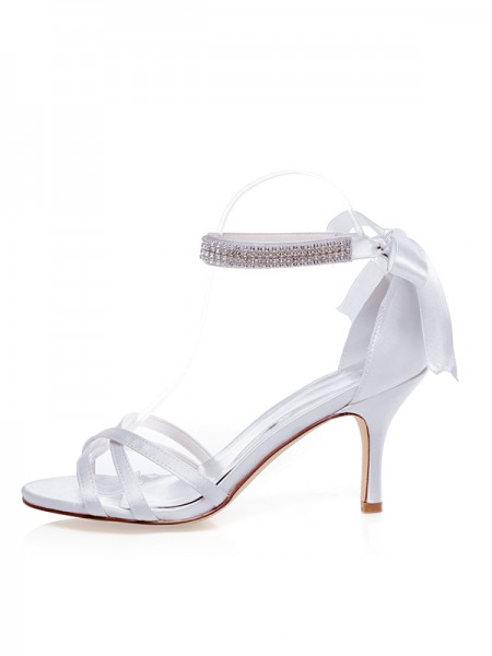 Latest Women's Satin Peep Toe Stiletto Heel Silk Wedding Shoes