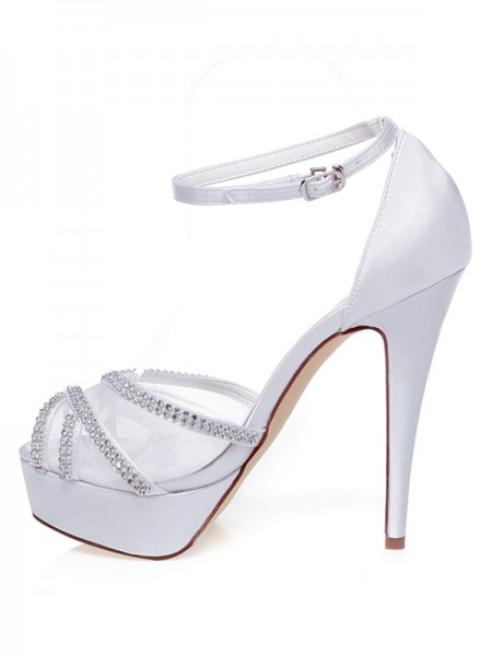 Latest Women's Satin Peep Toe Stiletto Heel Rhinestones Wedding Shoes