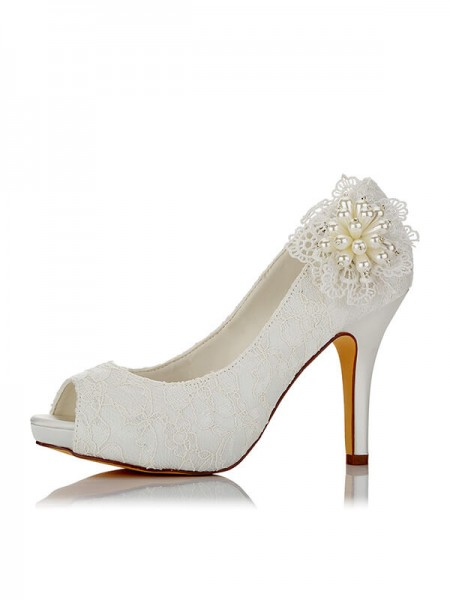 Latest Women's PU Peep Toe Stiletto Heel Wedding Shoes