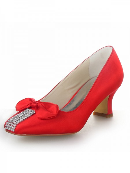 Latest Women's Satin Chunky Heel Closed Toe With Bowknot Party & High Heels