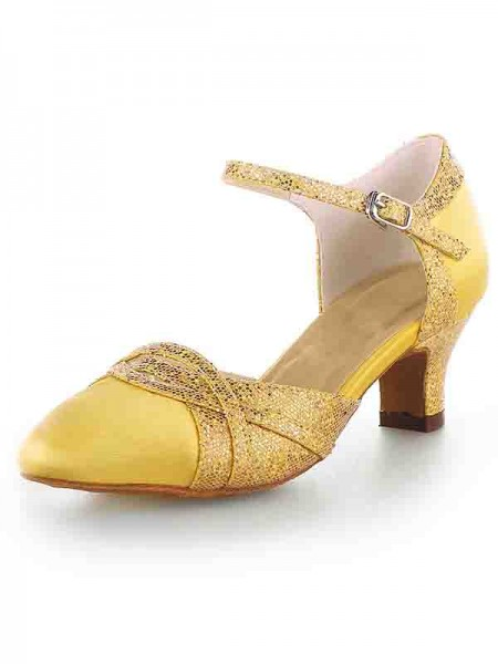 Latest Women's Satin Closed Toe Chunky Heel With Sparkling Glitter High Heels