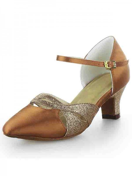 Latest Women's Satin Closed Toe Chunky Heel Buckle Sparkling Glitter Dance Shoes