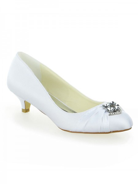 78557cad1b6 Latest Women s Satin Lace Platform Closed Toe With Bowknot Kitten Heel  White Wedding Shoes ...