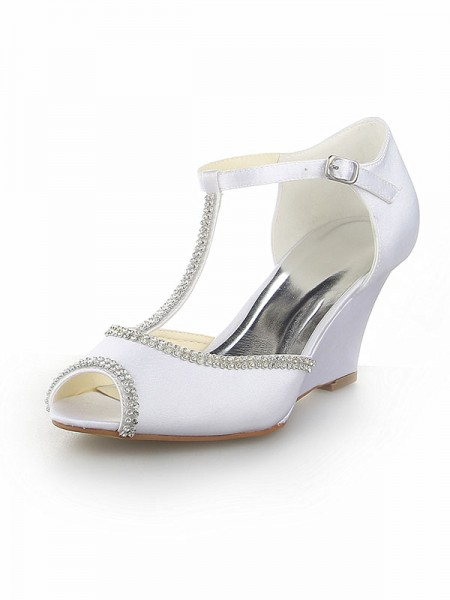 Latest Women's Peep Toe T-Strap With Rhinestone Satin Wedge Heel White Wedding Shoes