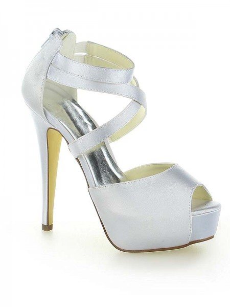 Latest Women's Satin Platform Peep Toe With Zipper Stiletto Heel White Wedding Shoes