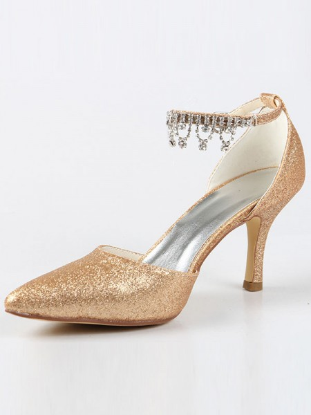 Latest Women's Mary Jane Closed Toe Cone Heel With Rhinestone High Heels