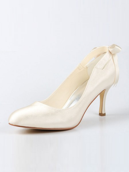 Latest Women's Satin Closed Toe Spool Heel With Bowknot Ivory Wedding Shoes