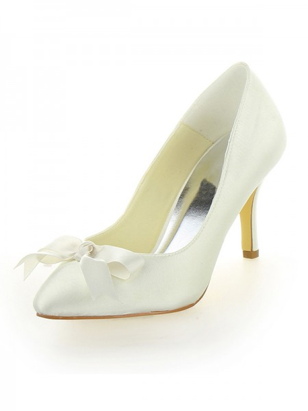 Latest Women's Stiletto Heel Satin Closed Toe With Bowknot Ivory Wedding Shoes