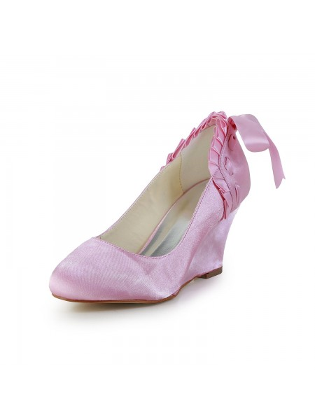 Latest Women's Unique Satin Wedge Heel Closed Toe Pink Wedding Shoes