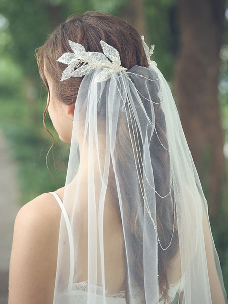 Fashion Fancy Tulle One-Tier With Beading Chapel Bridal Veils