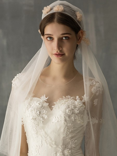Fashion Wonderful Tulle One-Tier With Applique Elbow Bridal Veils