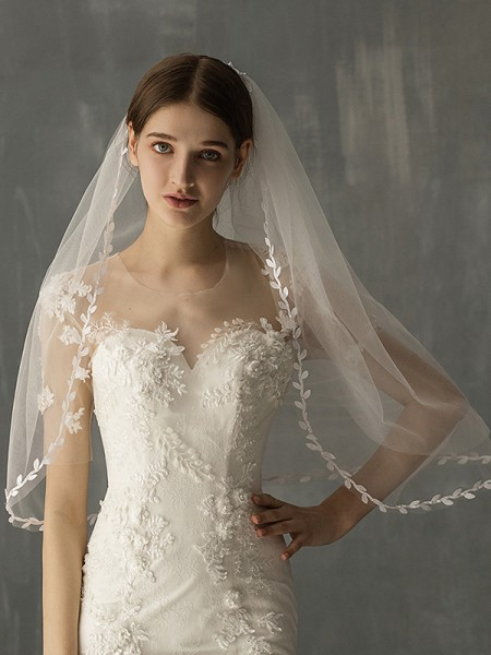 Fashion Beautiful Tulle Two-Tier Elbow Bridal Veils