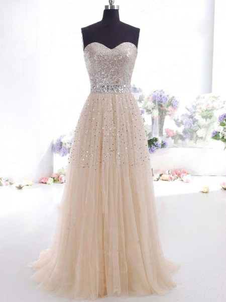A-Line Sweetheart Tulle Sweep/Brush Train Prom Dresses