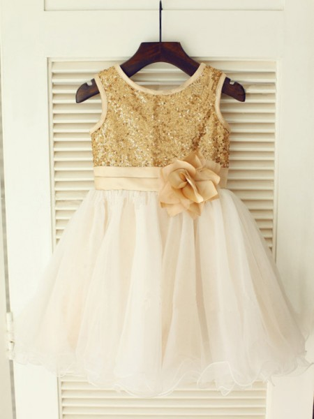 A-Line Scoop Sequin Organza Dresses