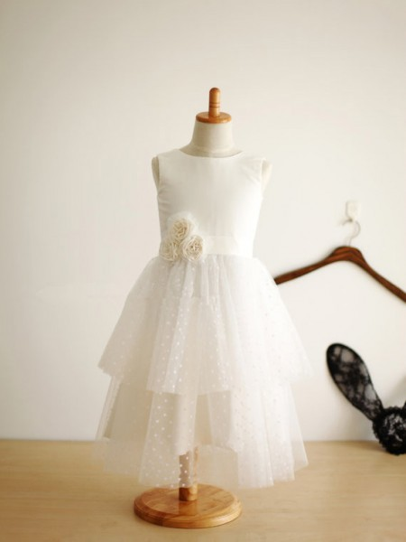 A-Line Jewel Hand-Made Flower Tulle Dresses