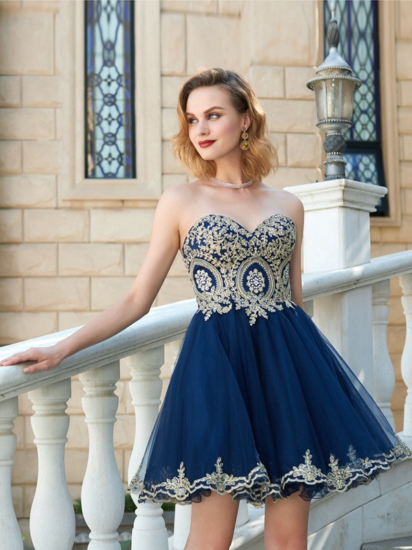 6e5145b386 A-Line Sweetheart Applique Short Mini Net Homecoming Dresses ...