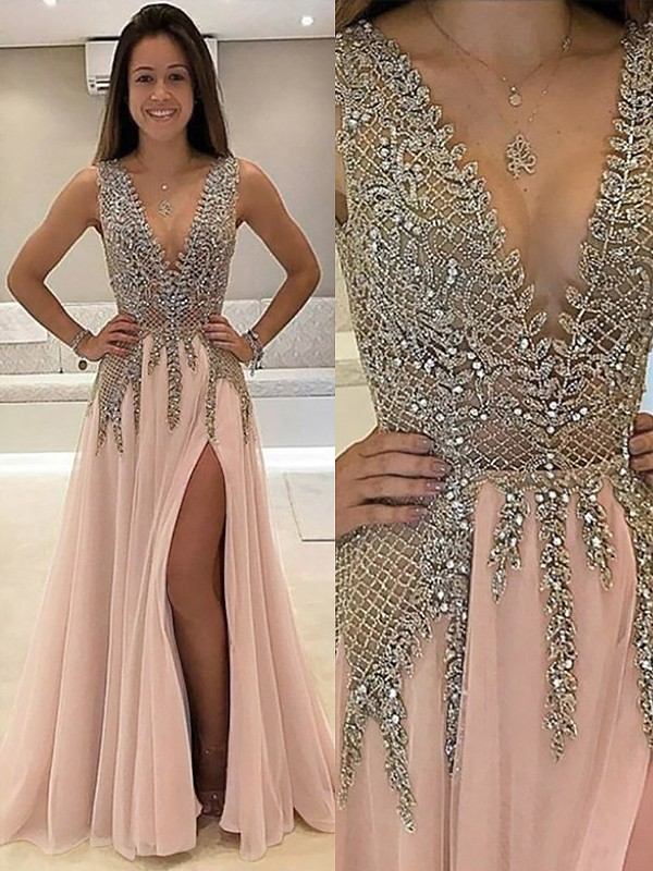 A-Line V-Neck Sweep Train Beading Tulle Prom Dresses ... dd5243f44902