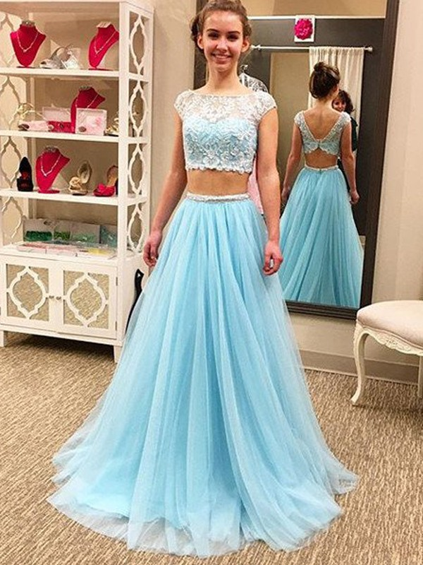 Light Sky Blue Two Piece Prom Dresses Fabmiss