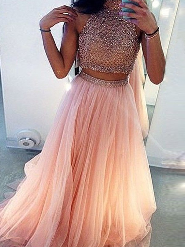A-Line High Neck Tulle Beading Sweep Brush Train Two Piece Prom Dresses ... 7bebe512a