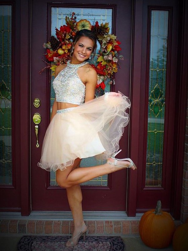 A-Line Scoop Beading Short Mini Tulle Two Piece Homecoming Dresses ... 856e63a07