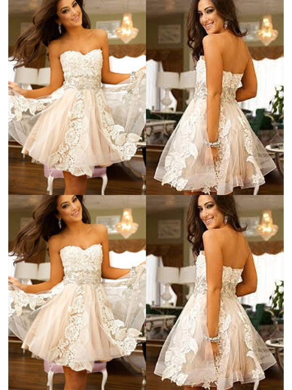 56effdc324 A-Line Sweetheart Applique Tulle Short Mini Homecoming Dresses ...