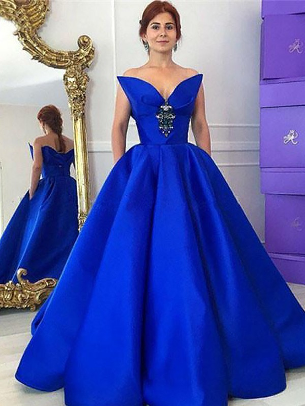 Ball Gown V-neck Ruffles Floor-Length Satin Prom Dresses