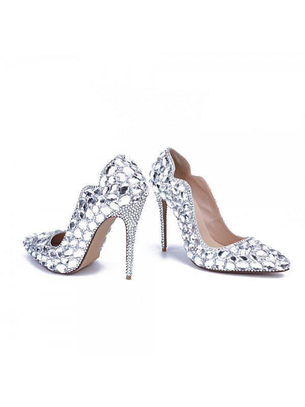 Silver Wedding Shoes.Latest Women S Patent Leather Closed Toe Stiletto Heel With Rhinestone Silver Wedding Shoes