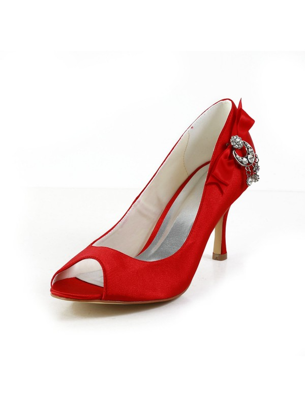 73e6a10c2b03 Latest Women s Satin Peep Toe Spool Heel With Bowknot Red Wedding Shoes ...