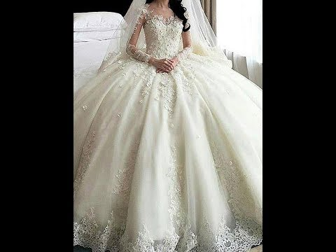 Scoop cathedral train lace applique tulle ball gown wedding